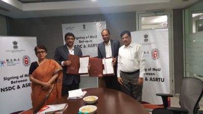 MOU Entered between NSDC & ASRTU for driver training Program